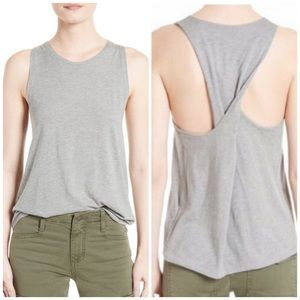 Vince Twist Back Cotton and Silk-Blend Tank Top